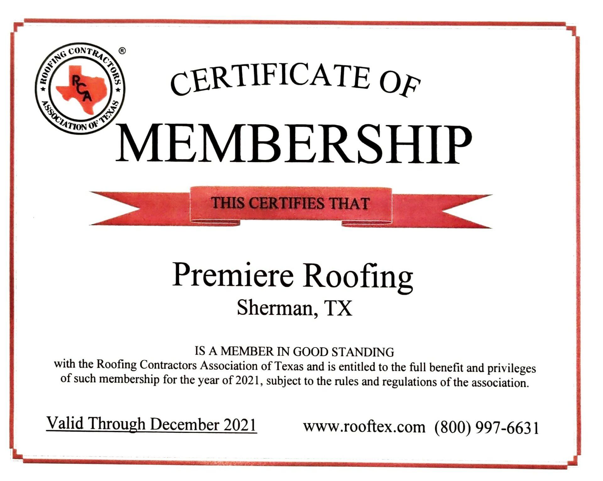 RCA Certificate of Membership Premiere Roofing