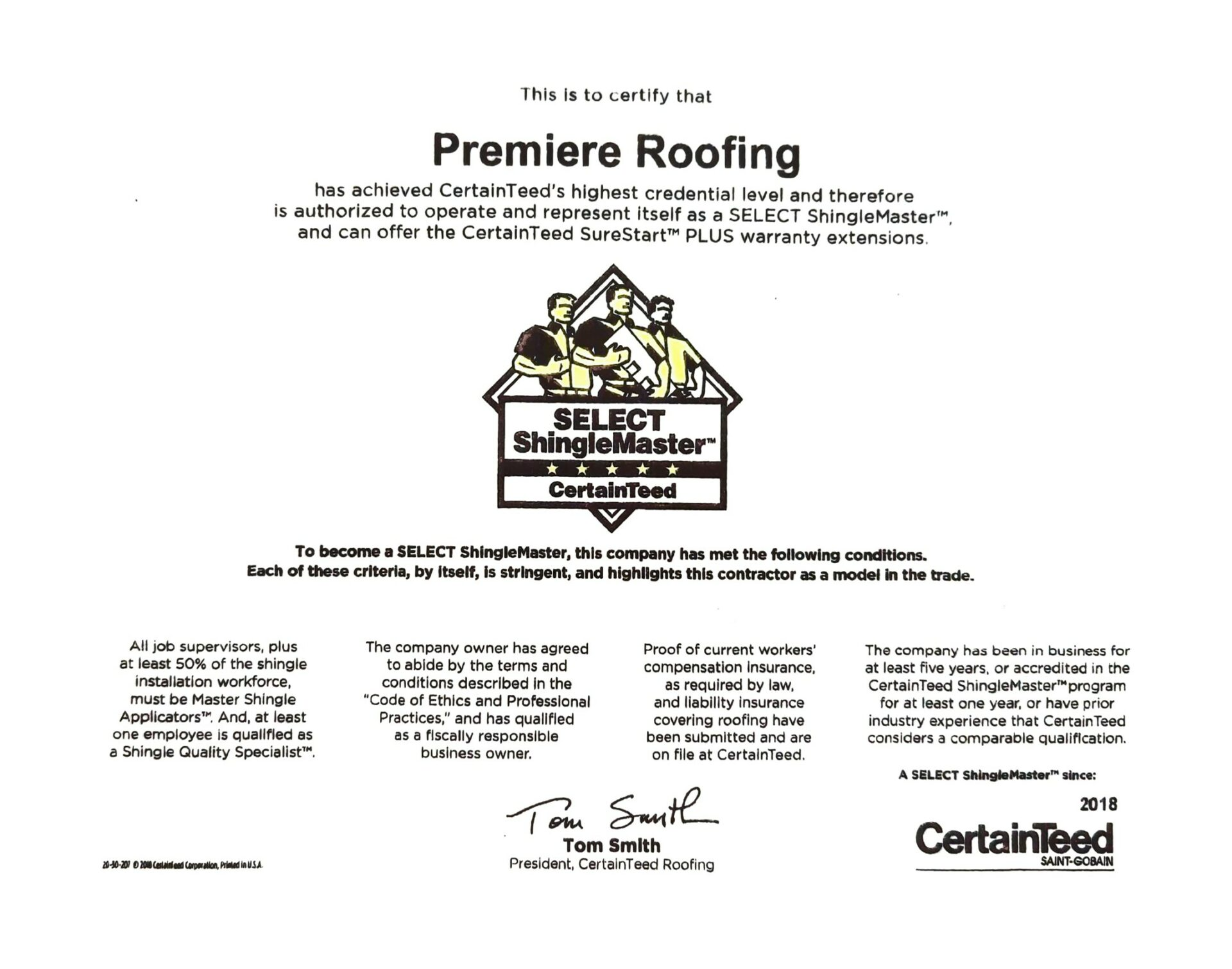 Select Shinglemaster Premiere Roofing