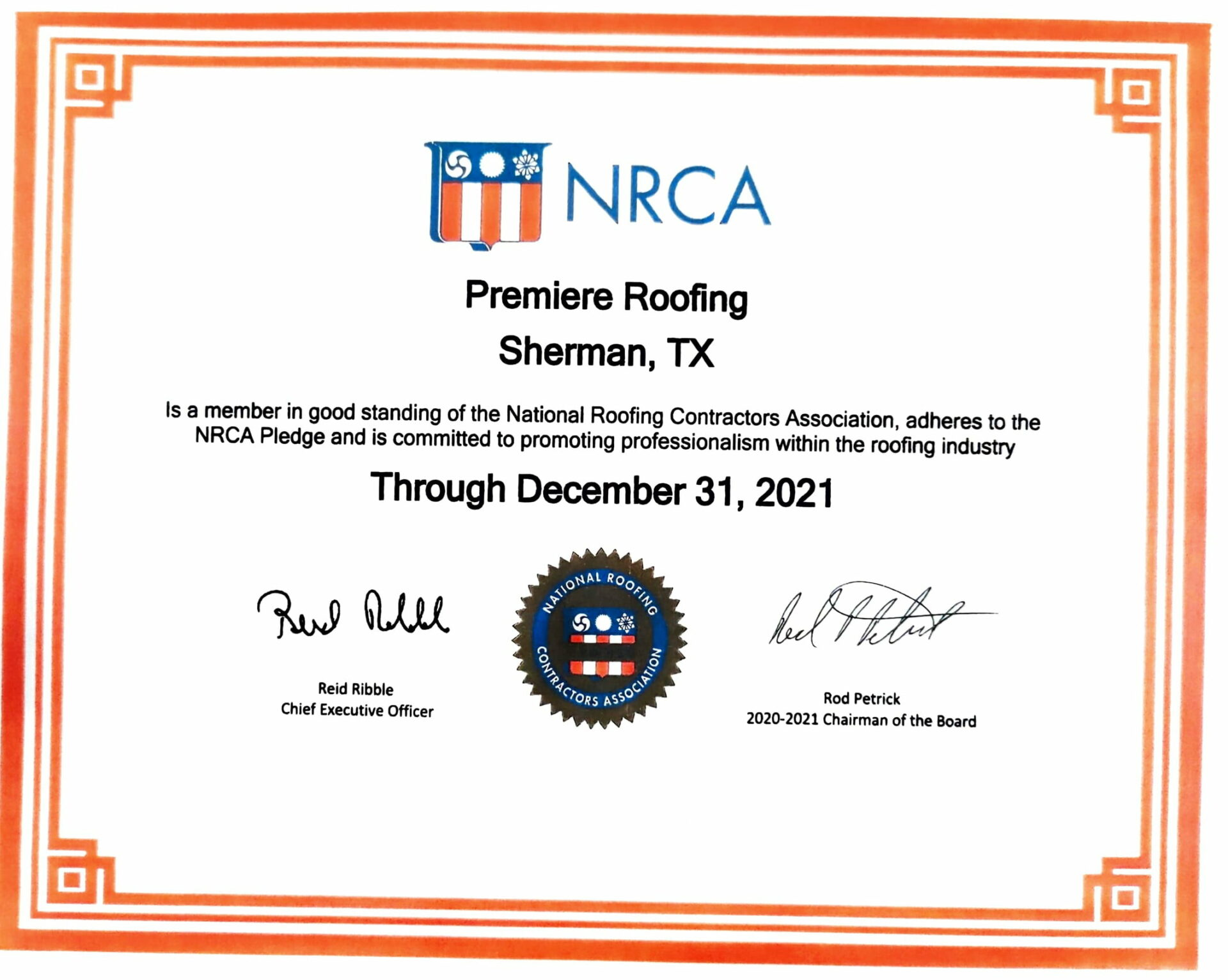 NRCA Premiere Roofing Certificate