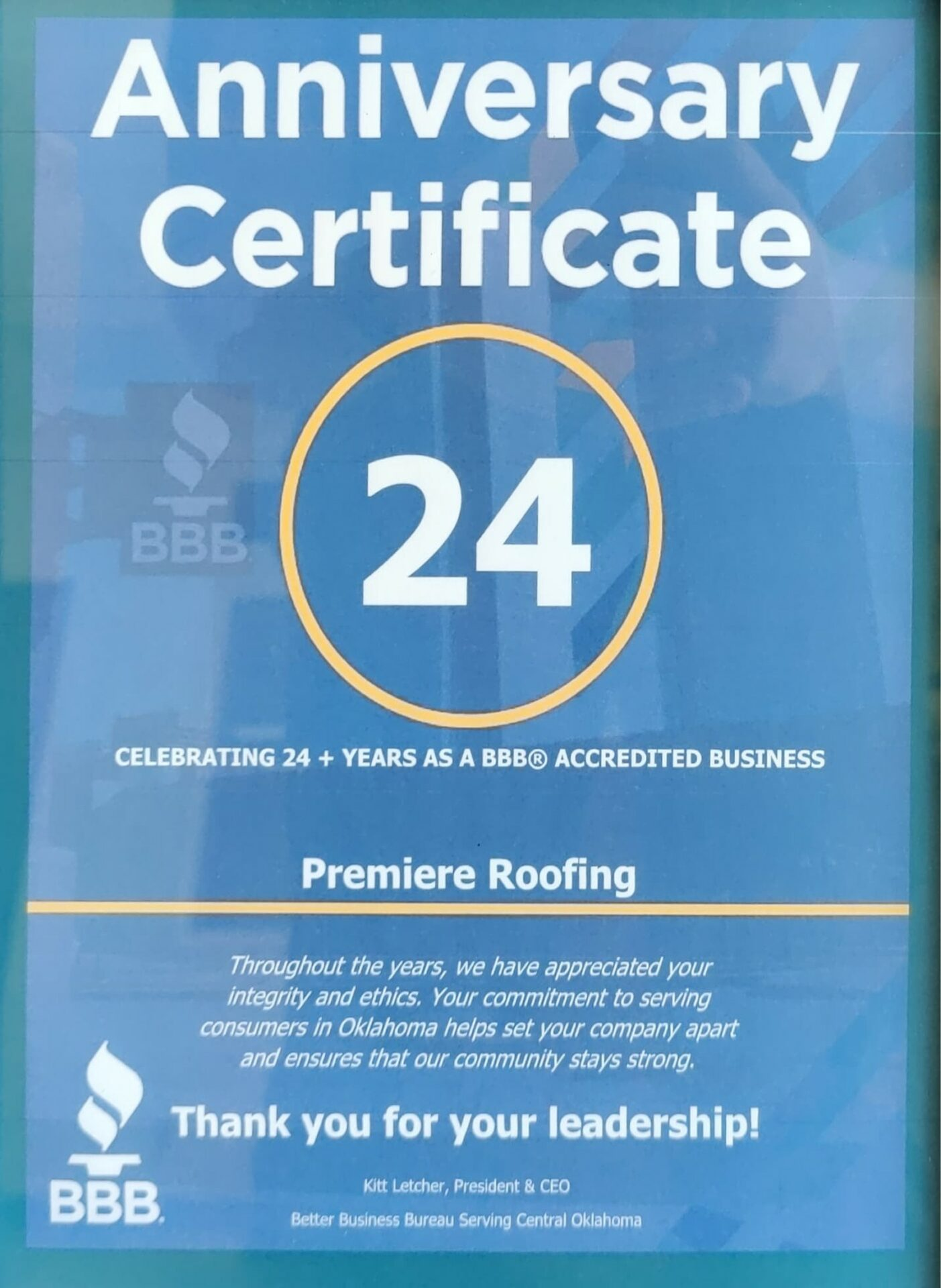 BBB 24 Year Anniversary Premiere Roofing