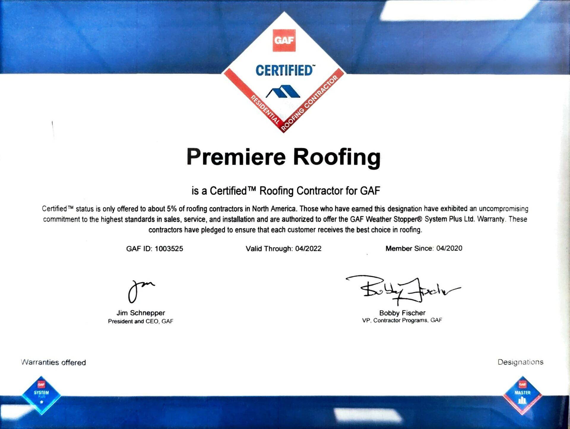 GAF Certified Premiere Roofing